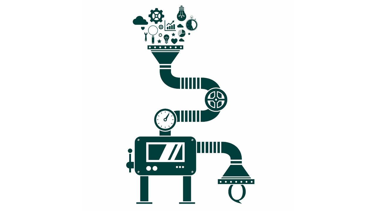 Quojob Illustration Roboter Workflow Agentursoftware Optimierung